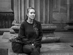 The Sitting (Leanne Boulton) Tags: people monochrome urban street candid portrait portraiture streetphotography candidstreetphotography candidportrait streetlife woman female face pretty facial expression look emotion feeling sitting column architecture posture eyes tone texture detail depth natural outdoor light shade shadow city scene human life living humanity society culture canon 7d 50mm black white blackwhite bw mono blackandwhite glasgow scotland uk