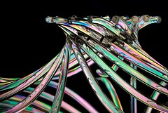 Tentacles (Karen_Chappell) Tags: crosspolarization stilllife plastic colourful abstract black pink green blue pastel multicoloured colours colour shapes
