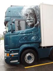 Wissen ist sexy ! (Swassermatrose) Tags: 2016 schweiz graubnden alpen switzerland davos truck lkw einstein art portrt kopf portrait paintwork