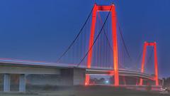 Bright lights again (dejongbram) Tags: bridge architecture bluehour germany emmerich le landscape nikon groundfog