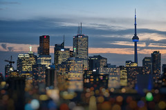Blue Hour Festive Downtown of Toronto (Katrin Ray) Tags: second bluehourfestivedowntownoftoronto torontodowntown bluehour sky blue clouds tiltshift cntower latourcn toronto ontario canada katrinray dreamscapesoftoronto canonphotography canon eos rebel t6i 750d miniaturesunday bluemonday