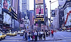 Times Square in Manhattan (1995), New York. (eustoquio.molina) Tags: new york manhattan times square people gente tráfico publicity arquitectura architecture urban