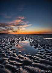 Before the flood tide (leeb.black) Tags: sun beach ferry sunrise scotland mud flood tide before flats rise puddles broughty grassy monifieth