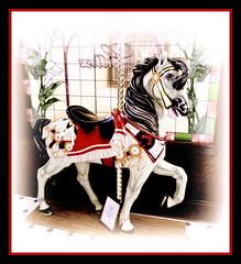 Lillies Mascot (milomingo) Tags: horse art wisconsin vintage festive display painted stainedglass fantasy nostalgic lillies multicolored decor equine whimsical ambiance carouselhorse miscaunoisland pembine misauno fourseasonsislandresort lilliesicecreamparlor