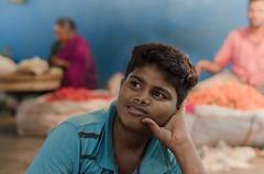 Rajni - flower seller (ramprasadlg6969) Tags: street boy portrait india lowlight market outdoor strangers streetphotography flowermarket flowerseller localmarket bengaluru