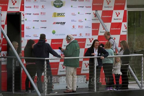 Preparing the podium for the Fiesta Junior Championship, Brands Hatch, 2015