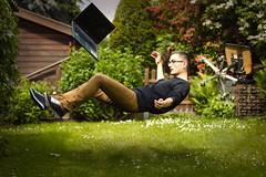 Levitation (mr_kuchen) Tags: selfportrait photoshop ouch fun chair outdoor laptop levitation