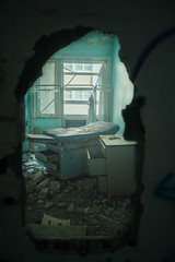 The Doctor Is Ready For You (IAmTheSoundman) Tags: abandoned broken wall hospital office bed jake hole takumar decay 28mm medical doctor exam psychiatric urbanexploring 28mmtakumar barshick jakebarshick