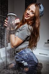 Beautiful Brunette Get Wet in High Waisted Jeans and Tights in High-heeled Boots #348 (Wetlook with WetFoto.com) Tags: wetlook wetfoto photos video wetgirl brunette wethair getwet soaked fullyclothed highwaistedjeans tights tshirt highheeledboots jacuzzibath
