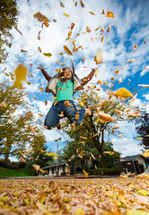 All the leaves are gone ... (Flickr_Rick) Tags: autumn woman fall girl leaves outside jump jumping breanne jumpology