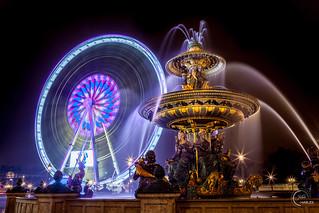 Fontaine des mers & Grande Roue, Place de la Concorde, Paris, France