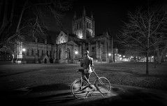 Elgar looking on Hereford Cathedral (technodean2000) Tags: elgar hereford cathedral edward memorial church bike night nikon d610 england uk colour lights tree outdoor vehicle