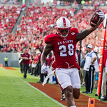Jaylen Samuels running into the end zone to score a touchdown in NC State's home game vs. Troy.