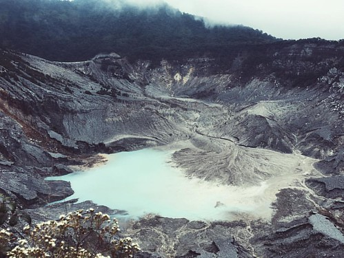 Mt. Tangkuban Perahu, a stratovolcano.