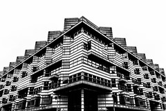 Geometrical building in Berlin (Chacky) Tags: took one shopping street berlin love lines dimension architecture germany bw blackandwhite black white travel traveling traveler triangle perspective symmetrical symetrical architect europe europa monochrome canon canon600d