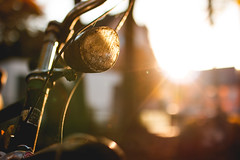 The Forgotten One (Light Close-Up) (thethomsn) Tags: forgotten bike bicycle backlight lamp dof bokeh street sidewalk sunset condition leaves autumn focus flare thethomsn