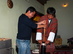 Butter Tea (whitworth images) Tags: guesthouse demonstration jeans robe people person himalayas gho bhutan bumthang man food travel room buttertea preparation bhutanese asia kurjey tea modern indoors male contrast churn tourism sudjaa himalaya beverage jakar drink men traditional bumthangdzongkhag