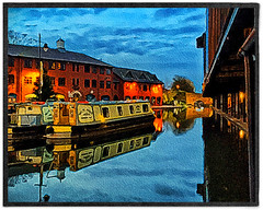 Day 328 of 366 - Mirror Image! (editsbyjon) Tags: phototoaster snapseed procamera iphoneography iphone365 iphone digitalpainting digitalart painterly narrowboat reflection water coventrycanalbasin coventrycanal coventry serene outdoor photoborder brushstroke