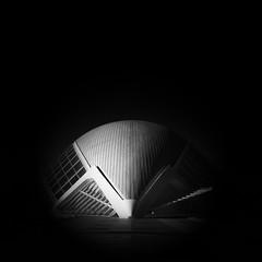 Alien (Giles McGarry (formerly kantryla)) Tags: valencia santiagocalatrava architecture mono blackandwhite modernarchitecture vertorama square spain palaudeslesartesinvalencia
