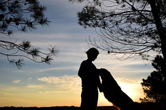 Stay with me (luenreta) Tags: perro animal silueta mascota contraluz