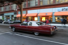 Big Red (Flint Foto Factory) Tags: chicago illinois urban city autumn fall november 2016 downtown loop monroe wells intersection 1976 cadillac coupe deville red 2door white landau vinyl top moving motion inmotion classic american luxury car morning rushhour traffic worldcars