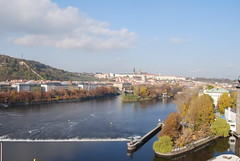 Vltava River (Halliwell_Michael ## Thanks you for your visits #) Tags: prague2016 autumn 2016 nikond40x czechrepublic prague thedancingbuilding rivervltava reflection reflections autumncolour trees weir praguecastle stvituscathedral water landscape reflectionslovers city europe