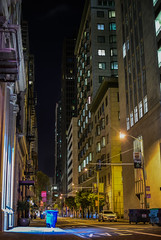 lonely big city (pbo31) Tags: california bayarea nikon d810 color black night dark december 2016 fall boury pbo31 sanfrancisco city urban financialdistrict commercial montgomery street alley infinity gap garbage vertical can yellow