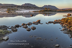 Ba Dawn (Shuggie!!) Tags: blackmount dawn hdr highlands mistandfog mountains reflections rocks scotland shoreline trees karl williams karlwilliams