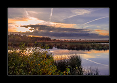 Himmelmoor (MiBro) Tags: moor moos sonnenuntergang herbst autumn sunset see lake blau blue yellow gelb