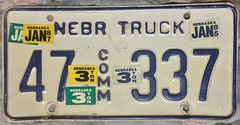 NEBRASKA 1985-87 ---COMMERCIAL TRUCK 1985-87 ---STICKER MADNESS (woody1778a) Tags: nebraska usa truck licenseplate numberplate registrationplate commercialvehicle license mycollection myhobby