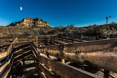 Picket Post Mountain, AZ (Terry L Richmond) Tags: picketpost mountain arizona desert brush fence corral moon canon6d canon1740