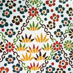 Kyoto yuzen washi 1 (tengds) Tags: handmadepaper japanesepaper yuzenwashi kyotoyuzen washi chiyogami flowers leaves red green yellow white tengds brown blue