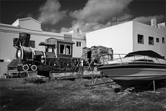 arrieta by boat or train (polomar) Tags: camera leica q lens summilux 28 17 asph common flickr polomar subject train boat boot zug street strasse city ort arrieta lanzarote spanien spain canaries kanaren