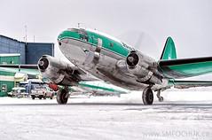 Buffalo Airways C-46 Curtiss Commando C-fAVO (Stephen M. Fochuk) Tags: cfavo buffaloairways icepilots warbird c46curtisscommando cyzf yellowknifeairport nwt northwestterritories snow action