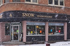 Snow and snow (beyondhue) Tags: snow jewelry store richer gatineau hull quebec snowing brick building beyondhue canada weather falling magasin jewellery diamantaire