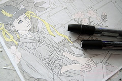 On my desk today (The Girl with the Flaxen Hair) Tags: nati art natiart illustration workinprogress animemanga commission markers wipshot wip victorianage romance