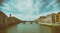 Ponte Santa Trinita (lamnn92) Tags: firenze florence italy tuscany arnoriver blue sky clouds bridge structure architecture classic film hdr travel panasonic lumix fz1000
