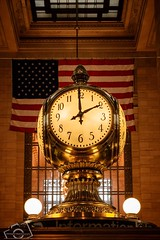 Two O'clock (skippys1229) Tags: nyc newyorkcity windows newyork clock architecture brooklyn canon buildings gold bronx manhattan flag americanflag indoors queens trainstation grandcentralstation brass informationdesk newyorknewyork highiso 2015 70d twooclock canon70d 2oclocktime