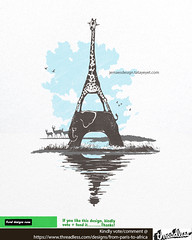 From Paris to Africa (Jema) Tags: africa shadow cloud lake elephant paris france tower nature animals architecture landscape scenery funny eiffeltower creative eiffel safari giraffe lovely threadless jemae