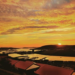 Sunset over Scalloway Harbour, Shetland #shetland #sunset #scalloway #clouds #ships #iphonegraphy #autumn (davidearlgray) Tags: square harbour ships squareformat perpetua shetland scalloway iphoneography instagramapp uploaded:by=instagram