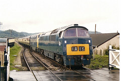 1010 Blue Anchor (British Rail 1980s and 1990s) Tags: diesel dieselhydraulic 52 class52 western loco locomotive train rail railway br britishrail warship 42 class42 wsr westsomersetrailway station 90s 1990s blue livery heritageline preservation preserved trains locohauled passenger liveried traction