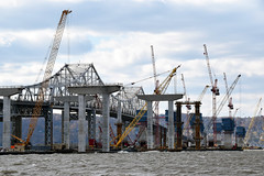 Construction Of The New Tappan Zee Bridge Is Over 50% Complete. Notice All The Construction Equipment In The Middle Of The Tappan Zee Bridge. Photo Taken Friday November 13, 2015 (ses7) Tags: new construction zee tappan phase bridgeny