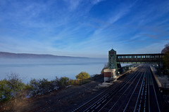 Fog on the Hudson II (johnruscombe1965) Tags: railroad autumn mist ny newyork fall weather fog unitedstatesofamerica railway hudsonriver converginglines hudsonline