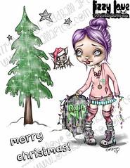 Christmas with Fran Tick & Dave #5FINALWM (Lizzy Love ♥ Oddball Art Co.) Tags: santa christmas cute eye art love reindeer cards big holidays paintings hats creepy antlers elf fox kawaii greeting bats lizzy 2015 oddballart