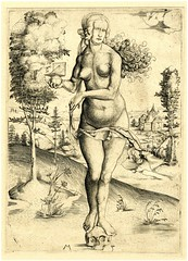 A Nude woman holding a sundial, standing on a skull (1500) (STORMZORN) Tags: maiden madchen mortsqueletteskeletonfemmedame fillejeunewomannakedmementomorinuenude erosthanatosdansemacabrecadavercadavreznortcraneskull muertechica todtott tanzdellamorte