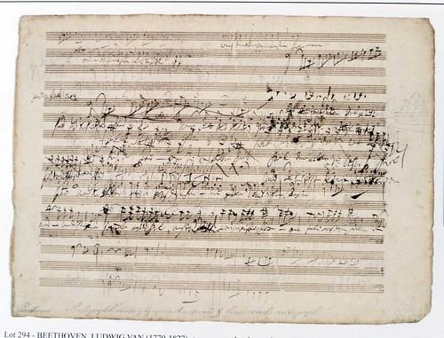 Фрагмент нот Людвига ван Бетховена