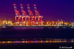 278/366 Megamax Cranes, Liverpool. (crezzy1976) Tags: nikon d3300 crezzy1976 photographybyneilcresswell photoaday liverpool megamaxcranes giantcranes purplesky afterdarkphotography nightphotography nighttime reflection rivermersey outdoor