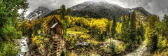 Crystal Mill Panorama (Serithian) Tags: hdr high dynamic range sony alpha a6000 photomatix fall colors aspens marble crystal colorado rocky mountains mill river town clouds snow leaves autumn