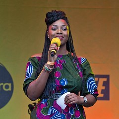 Esther Alade, Africa on the Square, Trafalgar Square, London 15 October 2016 (chrisjohnbeckett) Tags: estheralade compere presenter africaonthesquare trafalgarsquare london londonist timeout urban world culture blackhistorymonth portrait square canonef135mmf2lusm chrisbeckett photojournalism