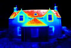 House heat loss thermal image (Ultrapurple) Tags: thermal thermalimager nightvision thermapp germanium lwir survey heatloss house cottage roof chimney window